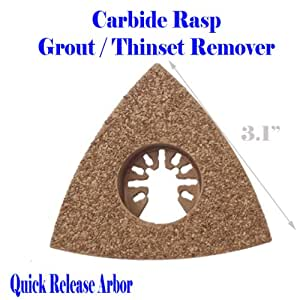 "3"" Triangular Carbide Grout Remover Rasp Quick Release Universal Fit Multi Tool Oscillating Multitool Saw Blade for Craftsman 20v Bolt-on Mm20 Rockwell Hyperlock Shopseies 12v Porter Cable Black and Decker Bosch GOP Dewalt Tool Free"