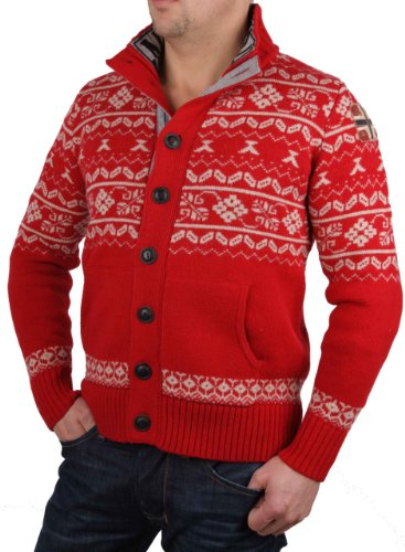 Napapijri Herren Jacke Strickjacke Pullover Norweger Rot #RIF82