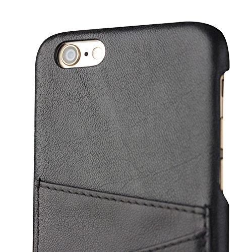 tuffskinz iPhone 6/iPhone 6S (11,9cm Taille d'écran) Support style étui en cuir véritable à rabat/portefeuille  - Black Slim case