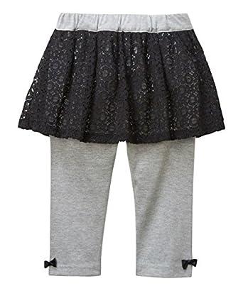 2f683e909e6e2 Amazon.co.jp: ボトムス  nissen(ニッセン)  レーススカッツ(女の子 子供服 レギンス付スカート) 黒×グレー 130  服 &ファッション小物
