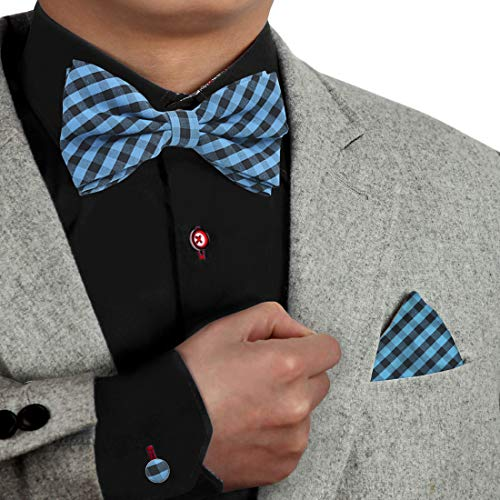 (Blue Pre-Tied Bowties Set For Men 100% Poly Geomeetic Bowtie And Handkerchiefs Cuff Link Set For Men Dan Smith Dbc3C02C Deep Sky Blue, Black)