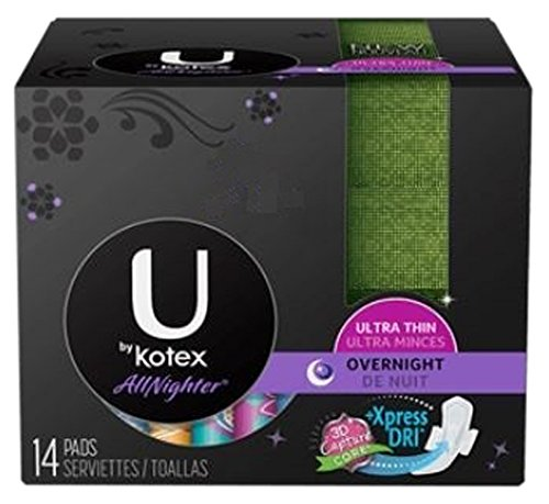 U by Kotex AllNighter Ultra Thin Overnight Pads with Wings, Unscented, 14 Count (Pack of 6)