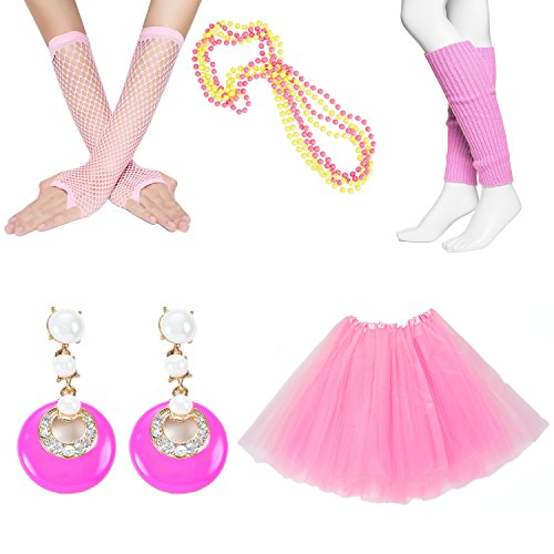 80s Fancy Outfit Costume Accessories Set,Adult Tutu Skirt,Leg Warmers,Fishnet Gloves,Neon Earrings and Neon Beads (Fancy Dress Outfits Women)