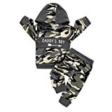 0-24M Baby Boys Long Sleeve Letter Print Hooded Pullover+Striped Pants Tracksuit