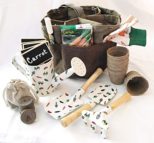 Complete Garden Set for Kids Equipped with Garden Tote Gloves 3 Piece Tool Set Seed Packets Peat Soil Pellets Pots Watering Tin Chalk Tags and Pen (Fruits & Vegetables)