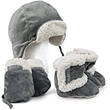 JJ Cole - Bomber Hat Set, Comfortable and Warm Boots, Mittens, and Hat for Infant, Graphite, 0 to 6 Months