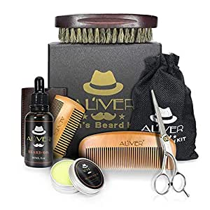 Beard Grooming Kit, Beard Care Kit with Beard Oil, Beard Balm, Wood Beard Comb, 100% Boar Beard Brush, Double-Sided Comb, Beard & Mustache Scissors and Metal Gift Box