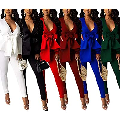 Pants and Blazer Set for Women Long Sleeve Ruffle Hem Peplum Blazer with Bodycon Long Pants 2 Piece Outfits: Clothing