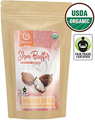 Unrefined Shea Butter - USDA Organic, African, Raw, 100% Pure, Handmade & Fair-Trade. Use Alone or in DIY Body Butters, Lotions, Soap, Eczema & Stretch Mark Creams & Skin Care - 1 LB. (16 Oz.)