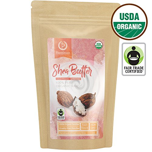 Unrefined Shea Butter - USDA Organic, African, Raw, 100% Pure, Handmade & Fair-Trade. Use Alone or in DIY Body Butters, Lotions, Soap, Eczema & Stretch Mark Creams & Skin Care - 1 LB. (16 Oz.) -