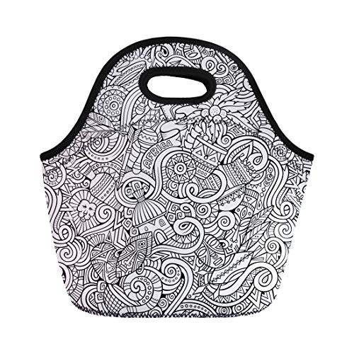 Semtomn Neoprene Lunch Tote Bag African Cartoon Doodles Subject of Africa Line South Coconut Reusable Cooler Bags Insulated Thermal Picnic Handbag for Travel,School,Outdoors,Work