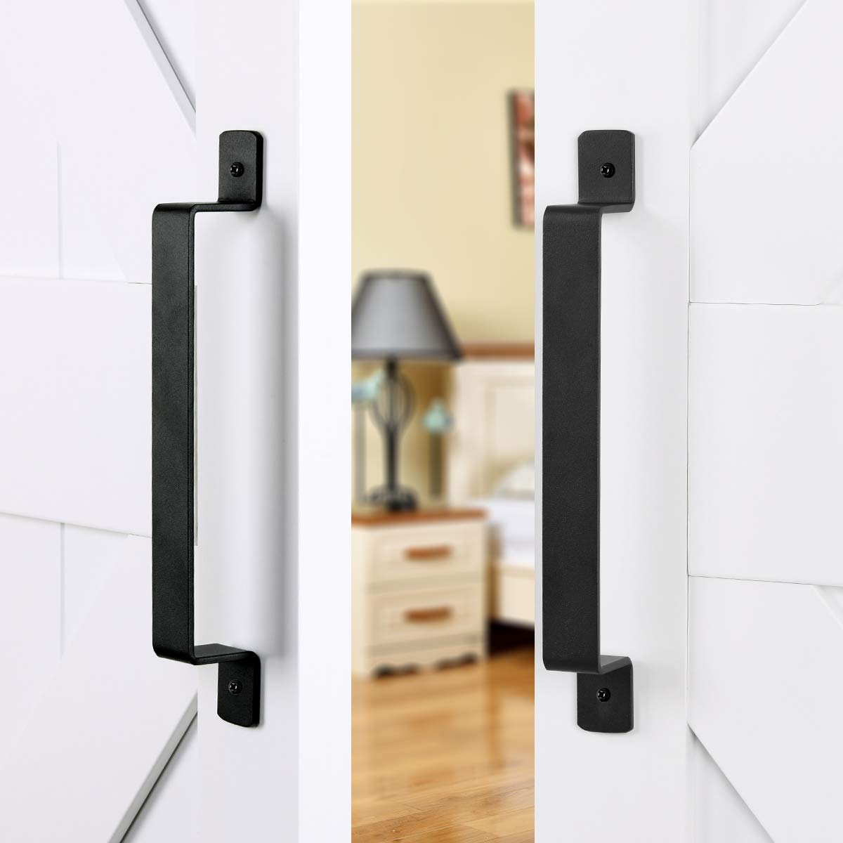 "SMARTSTANDARD 12"" Heavy Duty Barn Door Long Pull Handle for Gate Kitchen Furniture Cabinet Closet Drawer (2 PCS)"