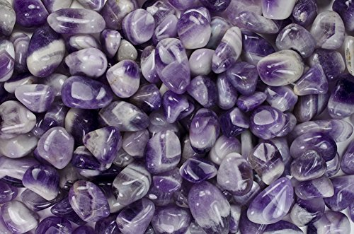 Fantasia Materials: 1 lb Tumbled Banded Amethyst ''AA'' Grade Stones from India - Large 1'' Bulk Natural Polished Gemstone Supplies for Crafts, Reiki, Wicca and Energy Crystal HealingWholesale Lot by Fantasia