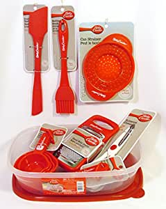 Bundle (9 Items, 17 Count) Betty Crocker Cooking Essentials – Easy Seal Container, Spatula, Measuring Cups/Spoons, Dough Scraper, Grater, Scissors, Basting Brush, Strainer