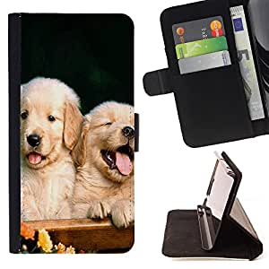 - Golden Retriever Dog - - Premium PU Leather Wallet Case with Card Slots, Cash Compartment and Detachable Wrist Strap FOR Apple Iphone 5C King case