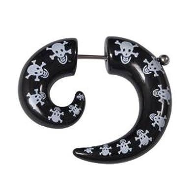 PALETTI- Espiral expansor falso para la oreja de acrílico patrón de cráneo en blanco y