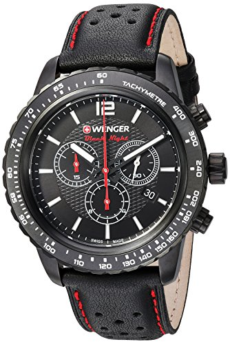 Black Wenger Swiss (Black Leather Strap, PVD)