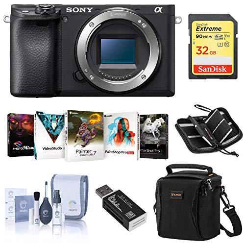 Sony Alpha a6400 Mirrorless Digital Camera Body – Bundle with Camera Case, 32GB SDHC U3 Card, Cleaning Kit, Card Reader…