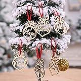 Gotian 6Pcs Wooden Ornament Xmas Tree Hanging Tags Pendant Decor Christmas Decorations