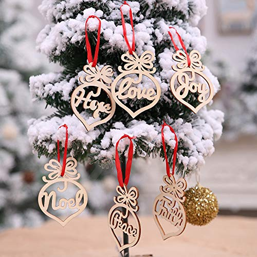 weijij 6Pcs Wooden Christmas Tree Ornament Decorative Hanging Set Xmas Tree Hanging Tags Pendant Decor Hangers Decoration with Ropes ()