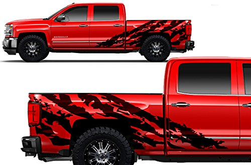(Factory Crafts Shred Side Graphics Kit 3M Vinyl Decal Wrap Compatible with Chevrolet Silverado Crew Cab 2014-2017 - Matte Black)