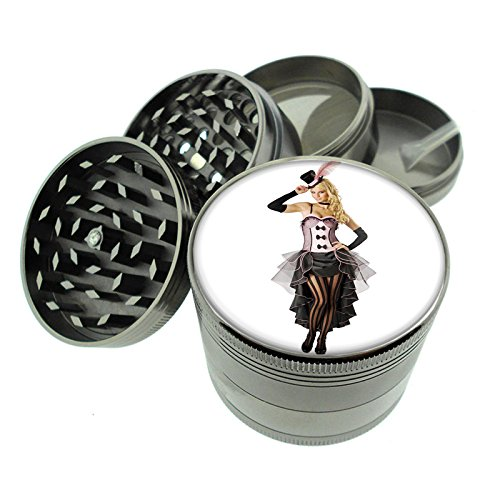 Dark Cool Gray / Titanium Zinc Metal Grinder Classic Western Saloon Girls Ladies Theme S7 4 Piece Diamond Cut Teeth 8oz Heavy Duty 4 Piece Saloon Girl