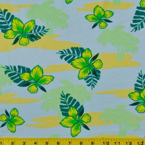 Printed Swimwear Fabric (Tropical Green/Blue Print - 58-60