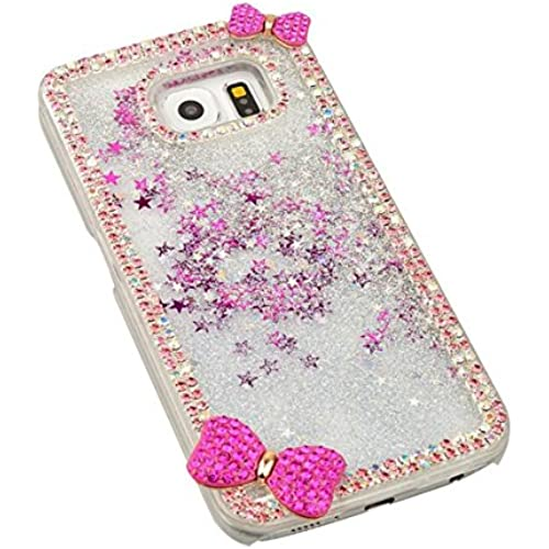 Galaxy S7 Funny Case,Jesiya Luxury 3D Hnadmade Shiny Crystal Bling Diamond Bow Bowknot Glitter Quicksand liquid star dynamic clear bling case Cover for Samsung Sales