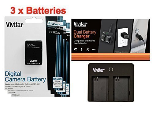 3 Pack of AHDBT-301 / AHDBT-302 Ultra High Capacity 1775mAH Li-ion Batteries for GoPro HD HERO3, GoPro HD HERO3+ (VIV-GP-HERO3+) + Vivitar Dual Battery Charger (MPN: VIV-QC-8162) by Vivitar