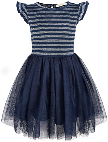 HONGLIN Baby Grils Ruffles Lace Dress Yarn-Dyed Striped and Flouncy Sleeves Short Sleeve Tutu Dress Princess Dresses (Blue/Silver, 3 Year) - Short Sleeve Tutu