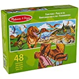 Melissa & Doug Land of Dinosaurs Floor Puzzle (Easy-Clean Surface, Promotes Hand-Eye Coordination, 48 Pieces, 1.22 Meters Long)