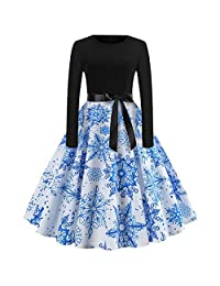 Ladies Christmas Long Sleeve Dress, Women's Vintage Swing Dress Cocktail Dress