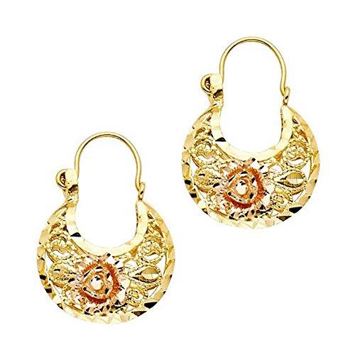 Women's 14k Two Tone Gold Flower Basket Earrings (0.94 in x 0.70 in) ()