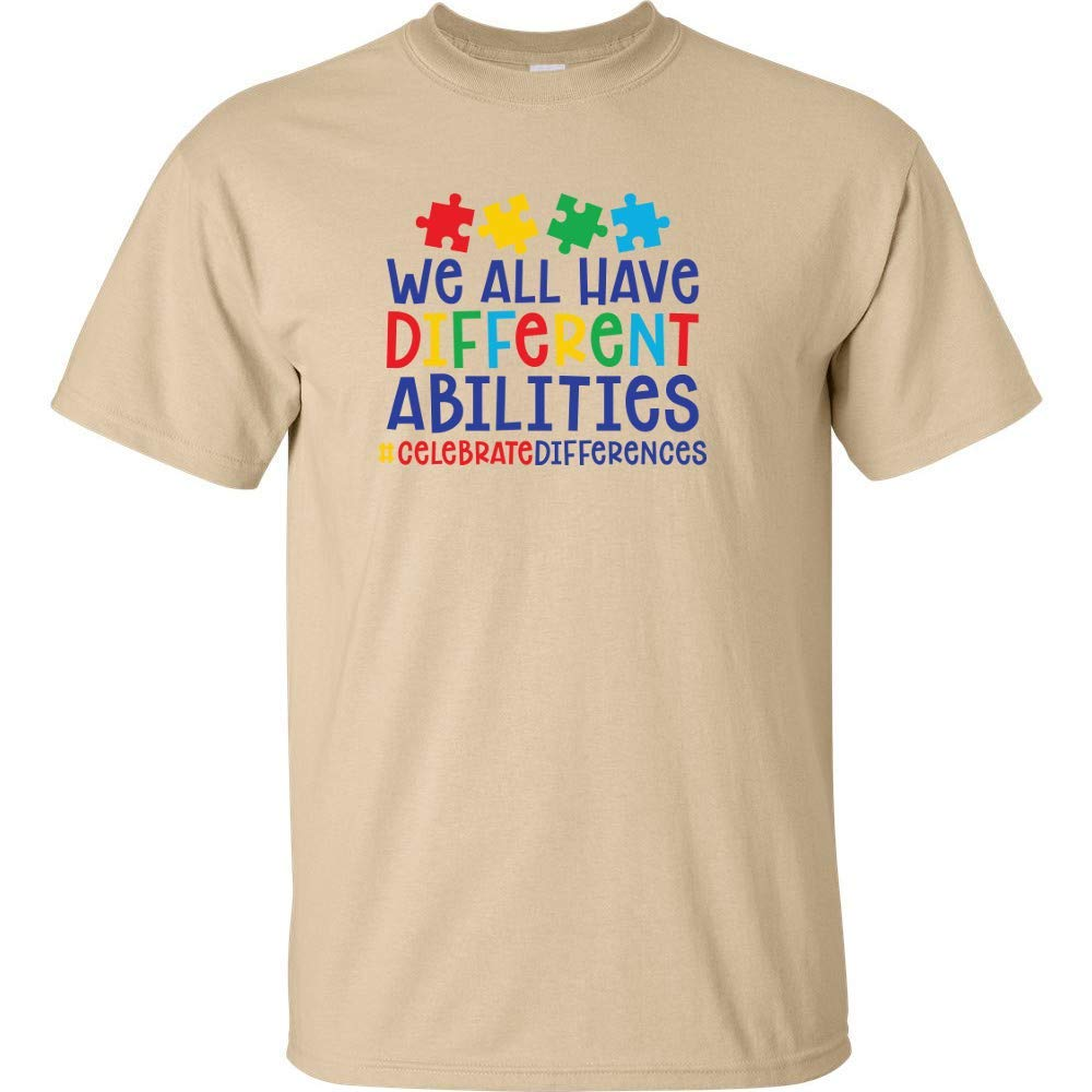 Autism Logo Color Hand Mens Short Sleeve Cotton Tshirts Crew Neck Art Top