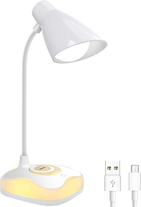 Lámpara Escritorio LED, OMERIL Luz Lectura Recargable USB con Control Táctil, Luz Cálida en la Base y 3 Brillo Regulable, Flexo Escritorio Infantil para Estudio, Lectura, Oficina, Dormitorio, Mesa: Amazon.es: Iluminación