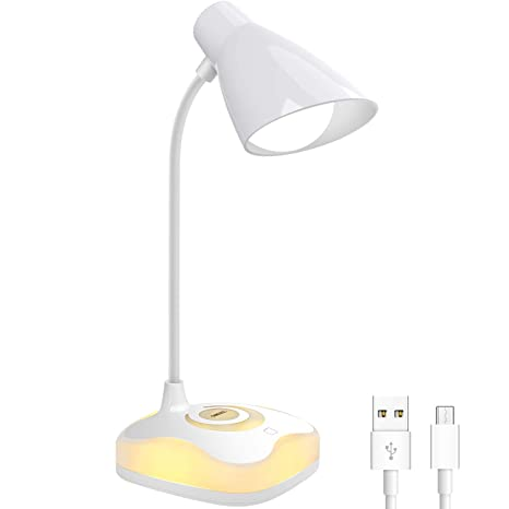 Lámpara Escritorio LED, OMERIL Luz Lectura Recargable USB con Control Táctil, Luz Cálida en la Base y 3 Brillo Regulable, Flexo Escritorio Infantil ...