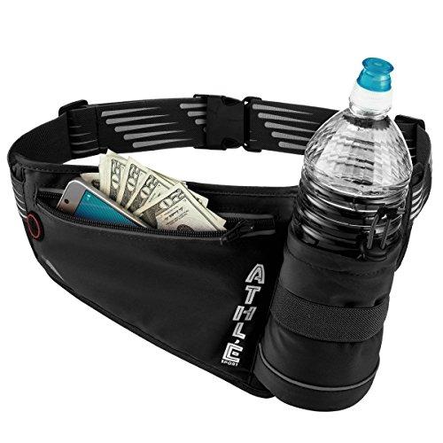 Athlé Sport Run Belt #4–Hydration Running Belt w/Vertical Water Bottle Pocket, 360° Reflective Safety, Cell Phone Zipper Pouch & Adjustable Buckle Waist Band–Great for Jogging, Walking - Sport Run