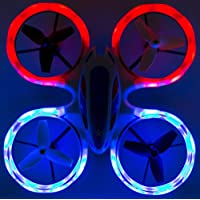 Wonder Chopper Sky Patroller Mini LED Stunt Drone RC Quadcopter Red And Blue w/ 360 Flip: 2.4GHz, 4 CH, Landing Pad Included, Crash Proof, For Kids Friendly, Beginner Friendly, Extra Battery