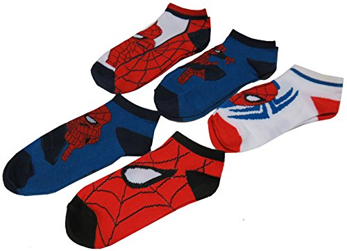 Marvel Boy's Spiderman Low Cut Socks, Size 6-8, Multi Colors, Pack of 5