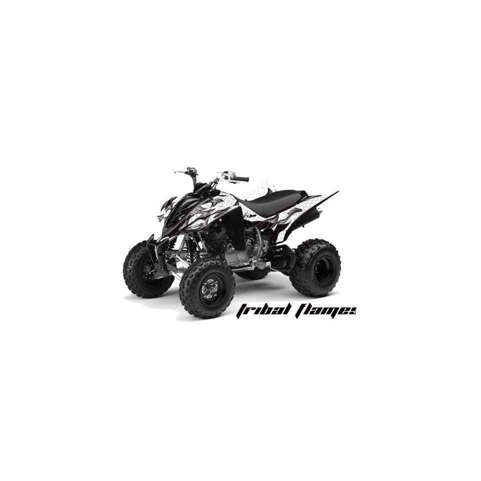 AMR Racing Yamaha Raptor 350 ATV Quad Graphic Kit   Tribal Flames White, Black