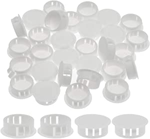 """Suiwotin 30PCS 25mm/1"""" White Hole Plugs Plastic Flush Type Hole Plugs Snap in Locking Hole Tube, Furniture Fencing Post Pipe Insert End Caps (White)"""