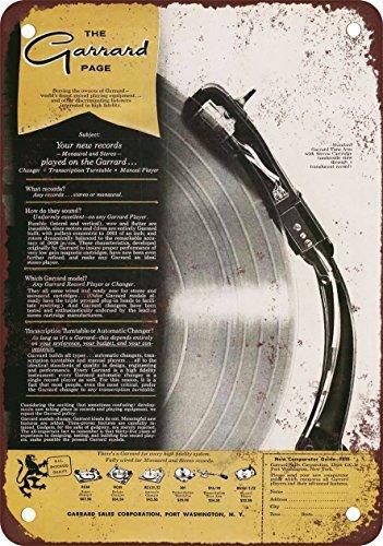 1958 Garrard Tocadiscos Vintage Look reproducción Metal Tin Sign 8 ...