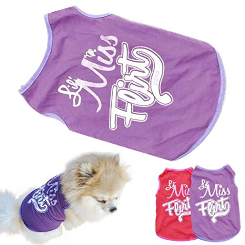Voberry Small Dog Shirt, Fashion Pet Puppy Clothes Funny Cotton Costumes Pet Dog Cat Cute Quote T Shirt (M, Purple)