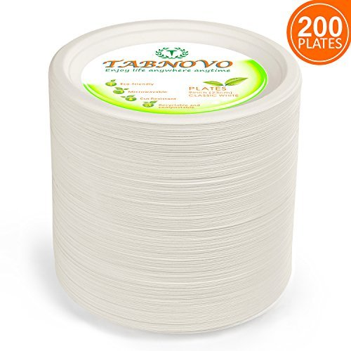 Paper Plates Heavy Duty 9 inches 200 Count Disposable Dinner Plates Classic White   ()