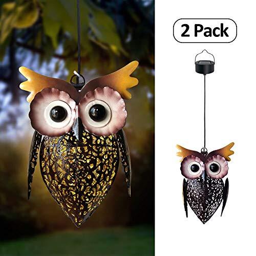 Petrala Solar Lantern Lights Hanging Outdoor Vintage Cute Owl Metal Lanterns 7 lumens Brown for Garden Patio Porch 2 Pack