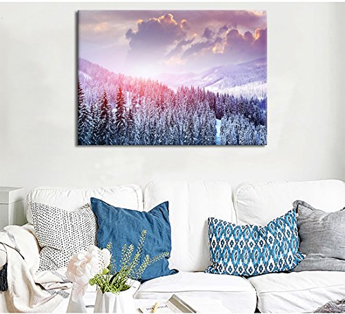 Yatsen Bridge Modern Landscape Artwork Canvas Prints Pictures Winter Forest Snow Scene View Painting for Living room Wall Decor Stretched and Framed Ready to Hang for Home (Snow Scenes Pictures)