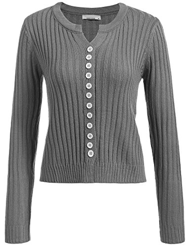 Women Button Down Long Sleeve Round Neck Fine Knit Solid Slim Cardigan Sweater, Grey, Small