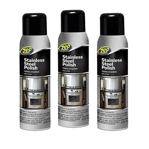 3x Bottle of Zep Commercial 14 oz Stainless Steel Cleaner Polish