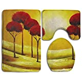 Bathroom Non-Skid Carpet Bath Rugs 3 Pieces Set Water-Absorbing Oil Painting Wallpapers Flannel Toilet Floor Bath Mats Contour Rug Lid Cover