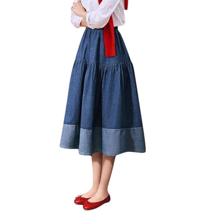 Faldas Mujer Verano Gran tamaño Cintura elástica Falda Joker ...